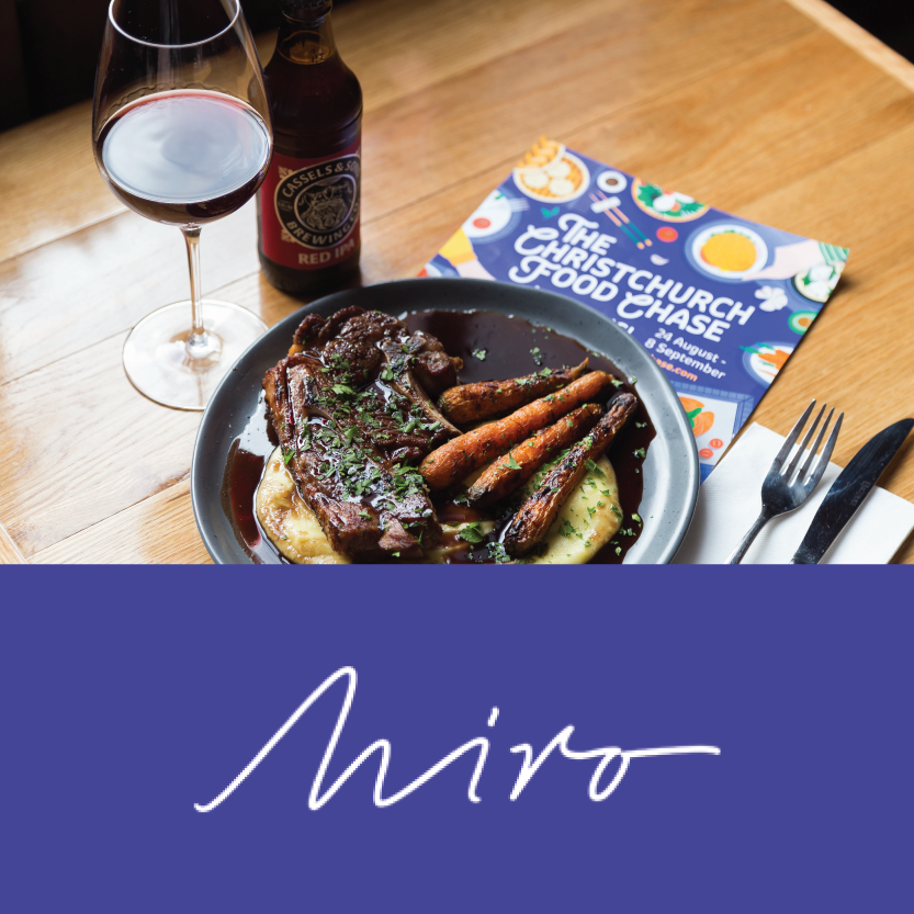 Miro   (176 Oxford Terrace, Christchurch Central)   Lamb shoulder chop, chargrilled baby carrots, parsnip puree with port wine jus - Beverage pair: wine (Brookfields Sun Dried Malbec) or beer (Cassels and Sons Red Indian Pale Ale)