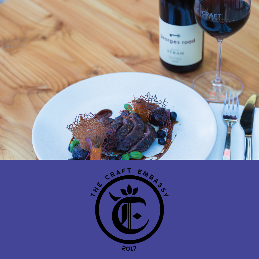"""The Craft Embassy   (Level One, The Terrace, 126 Oxford Terrace)   Venison Short Loin: with parsnip puree, beetroot fondant, baby carrots, blueberries and port wine jus / Beverage pair: Georges Road """"Block One"""" Syrah 2016 from Waipara"""
