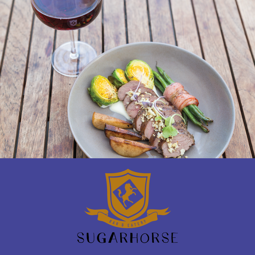Sugarhorse   (100 Moorhouse Ave, Addington)   Grilled Fillet of Lamb: with bacon wrapped beans, caramelised pears, grilled brussel sprouts, cauliflower crumb and greek yoghurt