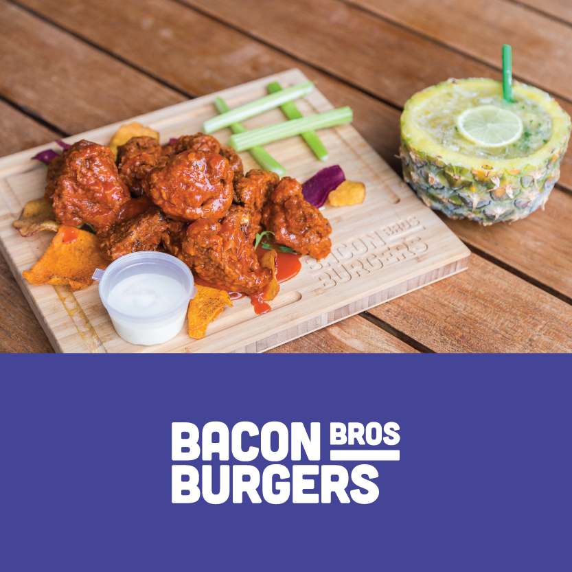 Bacon Brothers  (Little High, 181 High Street, Christchurch)    Buffalo Chicken: with blue cheese aioli and a bacon weave OR (vegan) Buffalo Cauliflower: with 1001 island sauce and kumara chips / Beverage match: Maple Bacon Old Fashioned OR R.I.P Spongebob cocktail