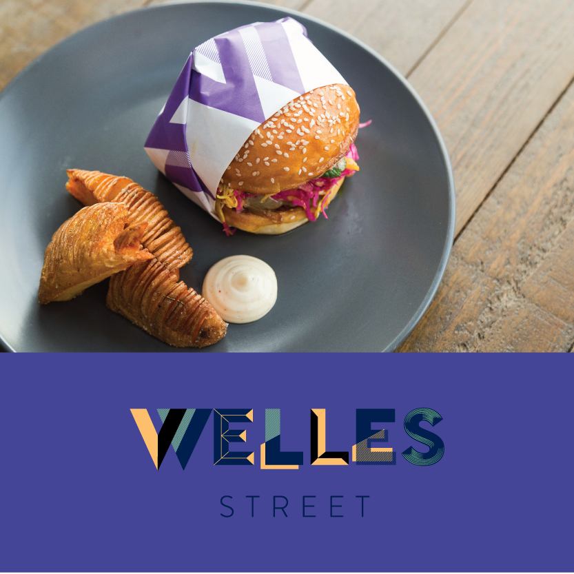 Welles Street   (44 Welles Street Christchurch Central)   The Hellenic Burger: NZ lamb, ras onions, provolone cheese, pickled cabbage & special 44 sauce side / Optional side: Hasselback potatoes with citrus salts / Beverage pair: Mythos Greek Beer