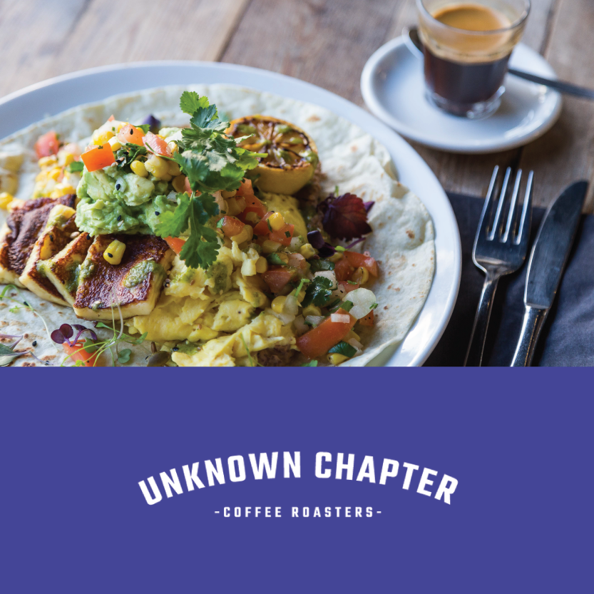 Unknown Chapter   (254 St Asaph St, Christchurch Central)   Breakfast Burritto: with grilled chorizo, smashed avocado, crispy bacon, black bean puree, scrambled egg, corn salsa and salsa verde / Beverage pair: Colombia Geisha black honey espresso