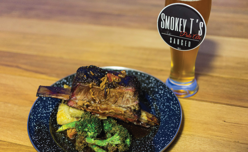 Dish most would eat again - Smokey T's - Smoked Beef Short Rib: 7 hour oak smoked Dinosaur bone with portobello and agria hash, burnt brocolli and brisket gravy / Beverage pair: Smokey T's Sauced Pale Ale