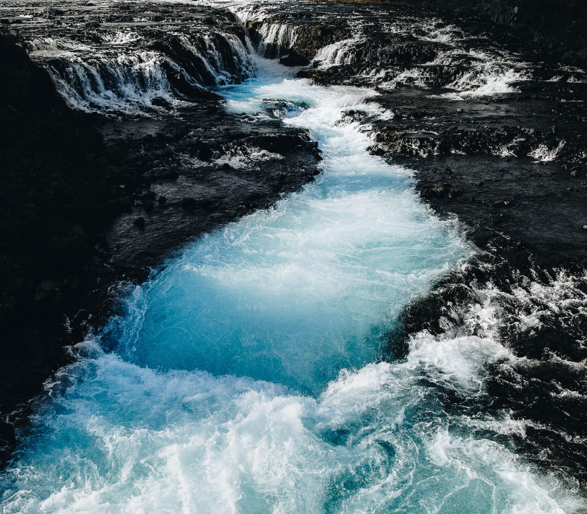 blue waterfall iceland bruarfoss