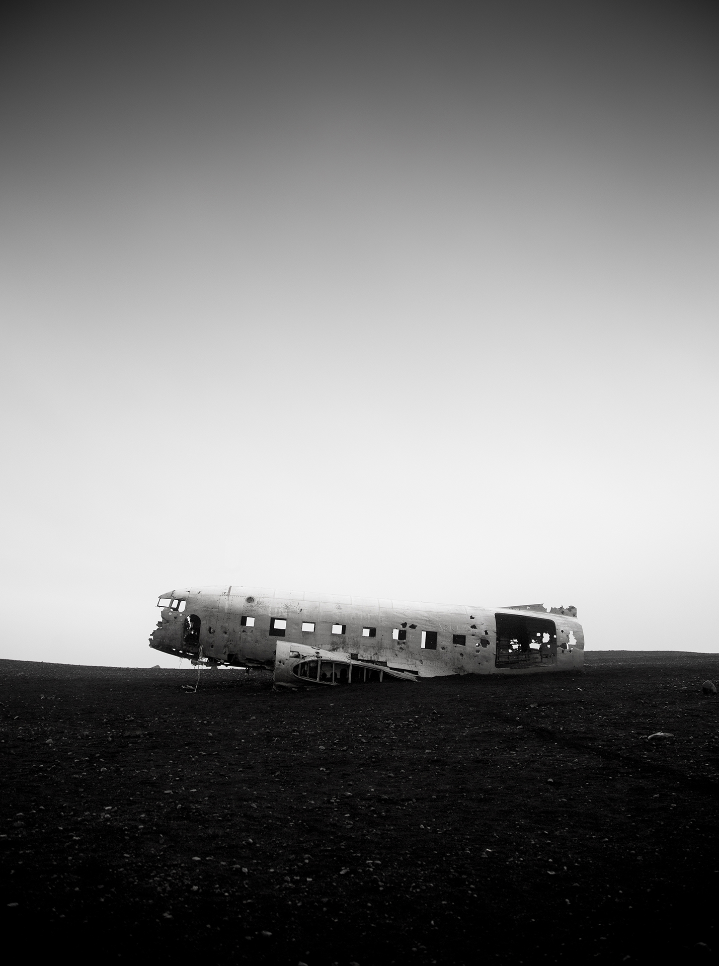 iceland plane wreck black and white