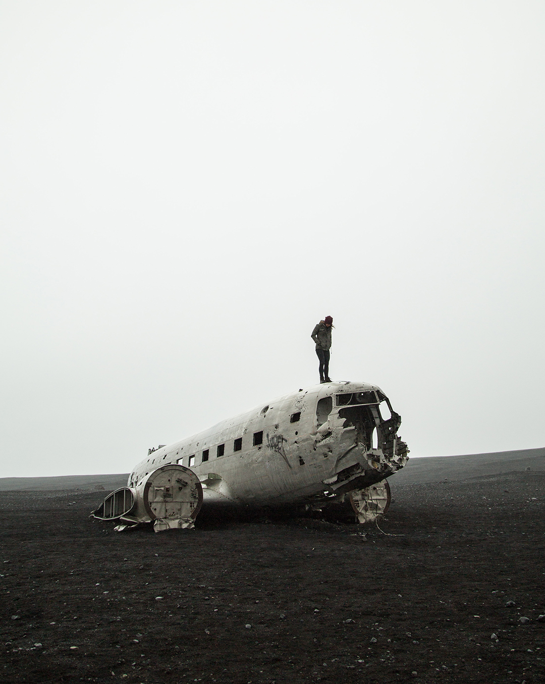 plane wreck iceland standing on top