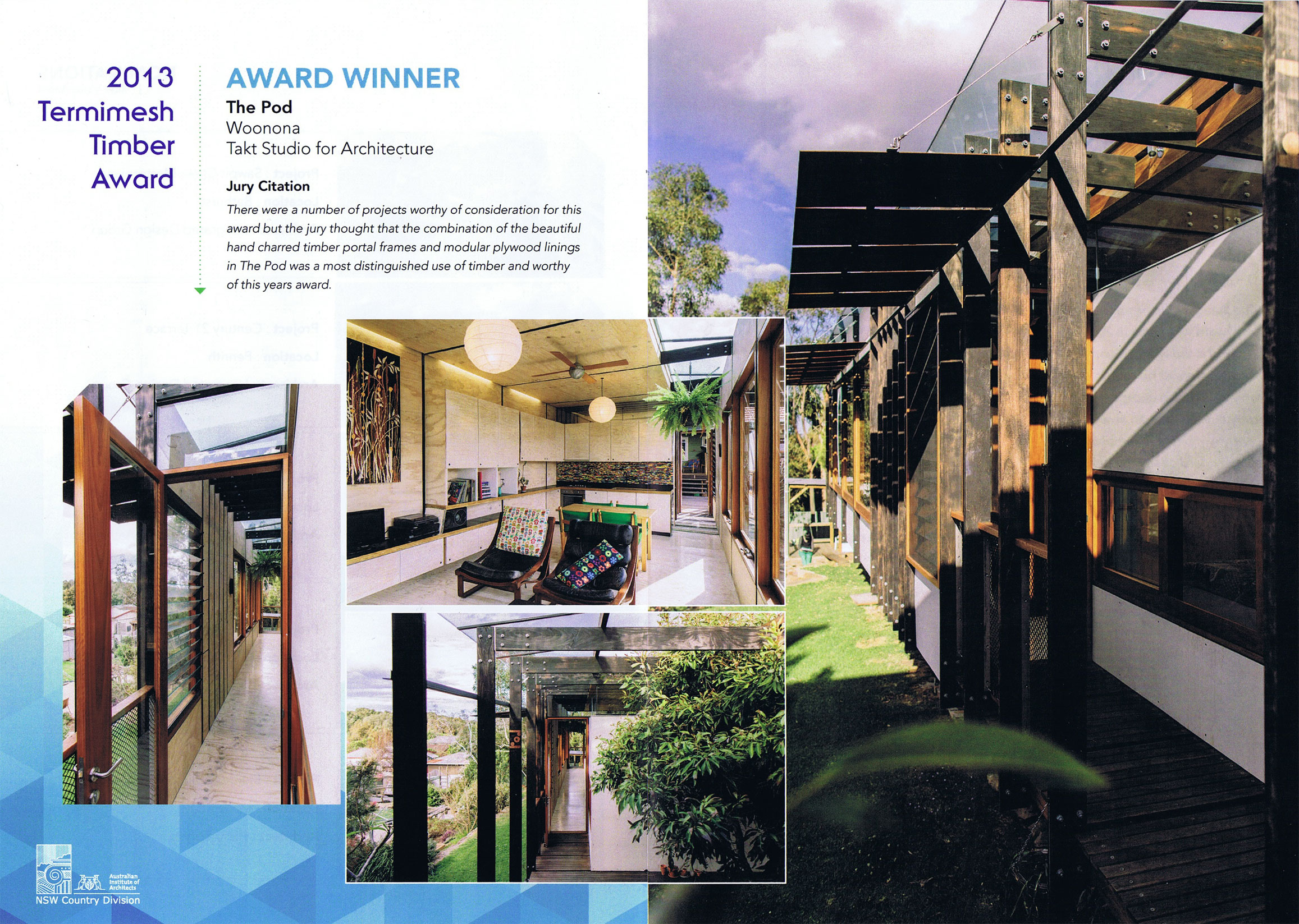 Timber Architecture Award - AIA Country Division 2013 - The Pod - Woonona