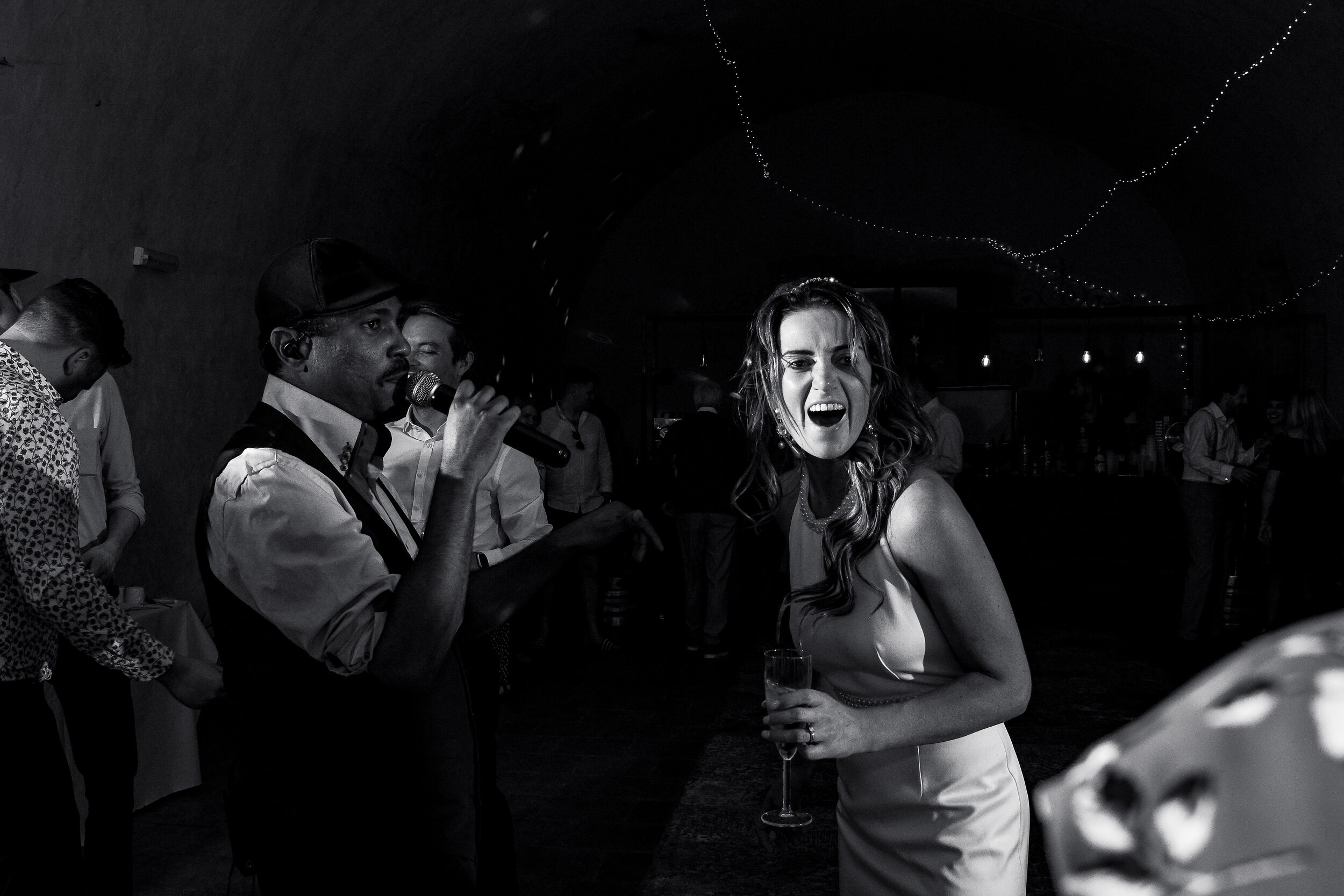 The bride, Michelle, enjoying the band The Pulse at Castelnau des Fieumarcon, France