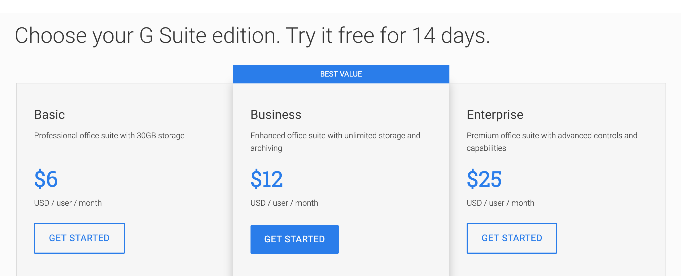 "Google's G Suite pricing page include pricing tables that highlight as single plan as ""best value"""