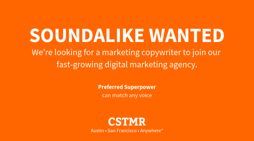 Advertisement - This digital ad concept is based on the original LinkedIn post. The headline and additional language identifies one of the position's core competencies of writing in multiple brand voices to attract attention and generate greater engagement.