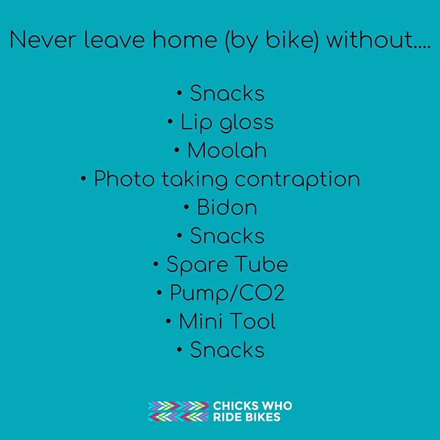 Did we forget anything? 🤔 . . . #chickswhoridebikes #livelaughloveride #cwrb #bikerides #stash #pocketfillers #snacks