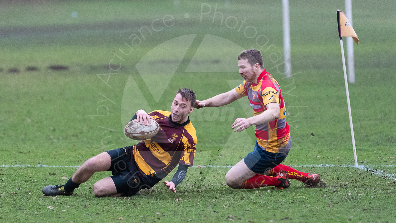 Pearce Thomilinson in his first game and touch of the season crosses the line… (Photo: Iain Frankish, Actuance Photography)