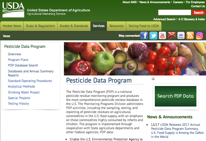 Figure 1: The web page for USDA's Pesticide Data Program (https://www.ams.usda.gov/datasets/pdp)