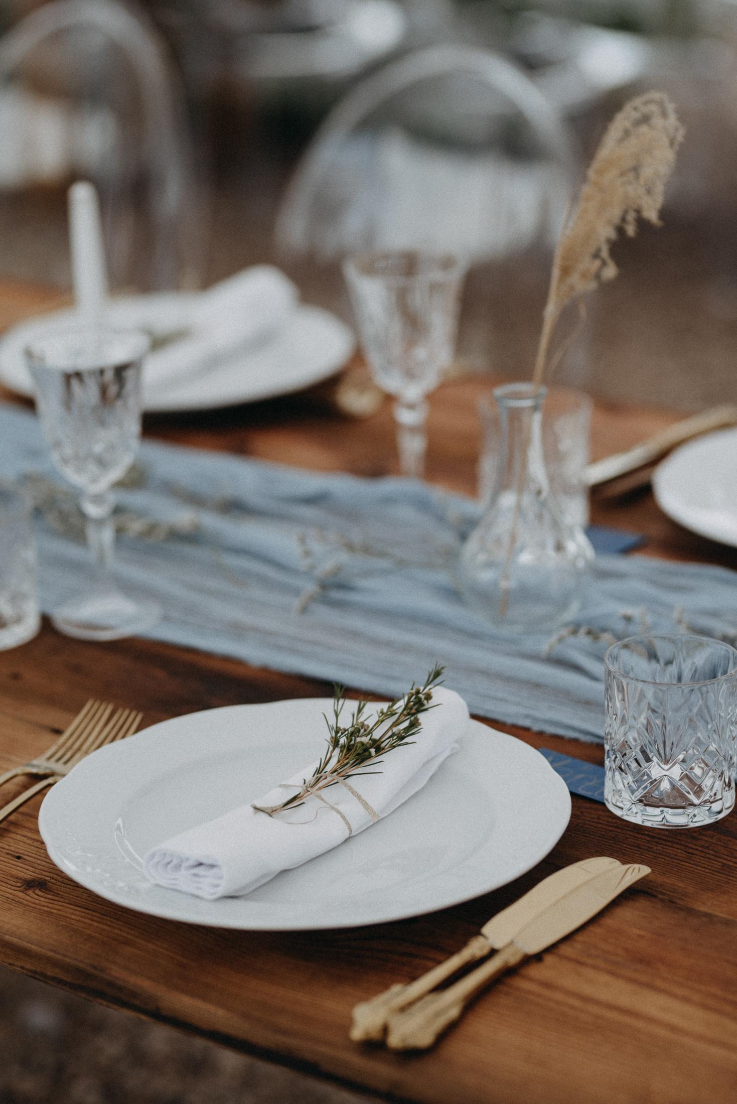 castle ruins wedding table setting