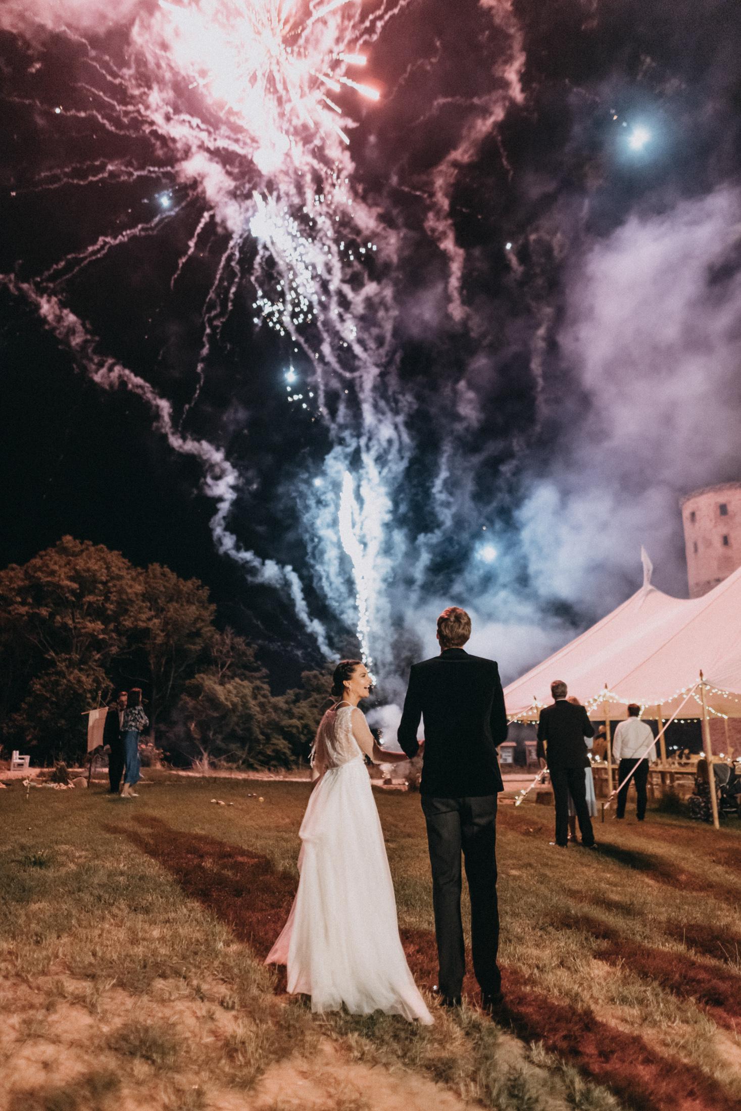 evening castle ruins wedding ceremony firework