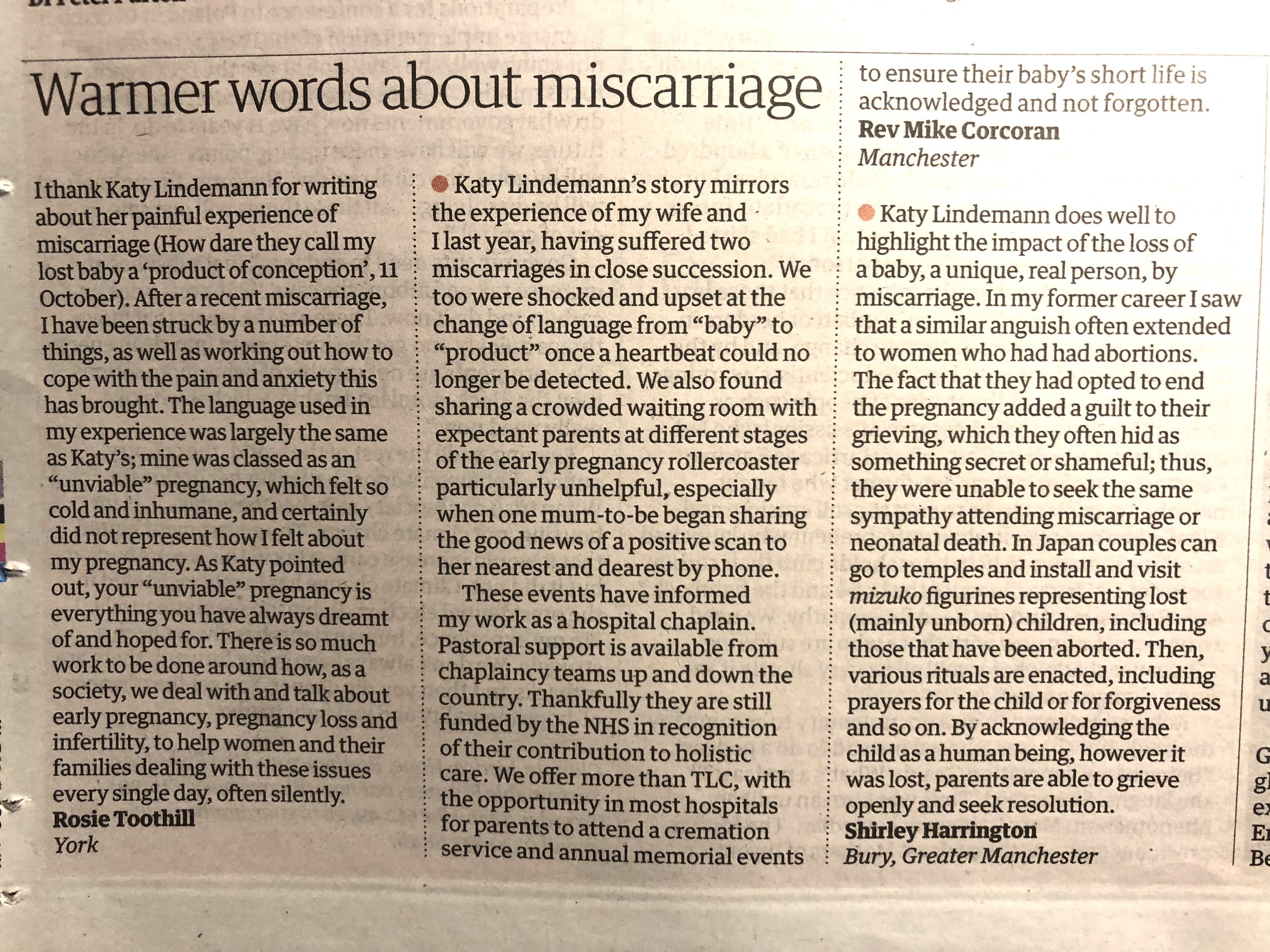 Letters page from the Guardian — Sat 13th Oct 2018