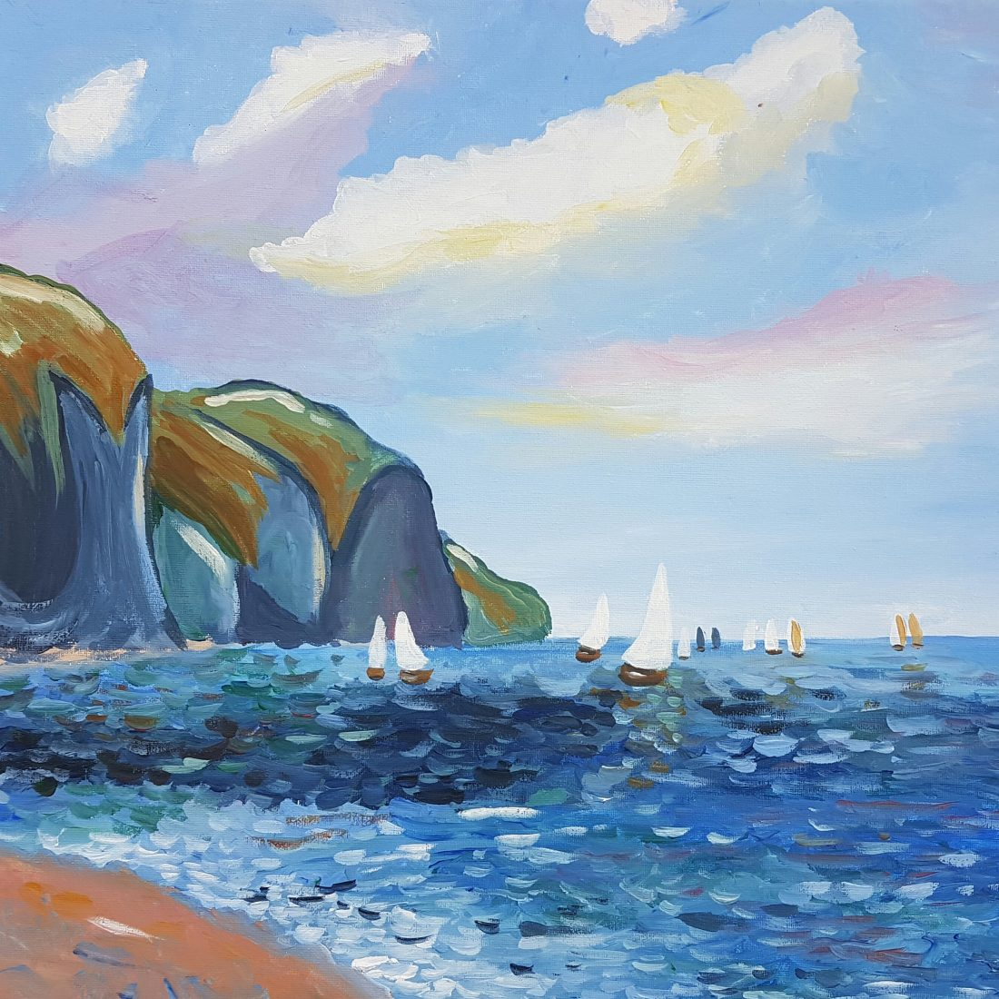 Cliffs and Sailboats at Pourville by Monet