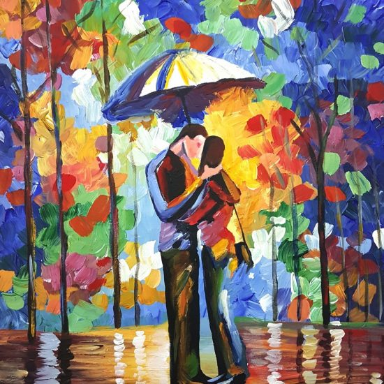 Kiss in the Park by Afremov