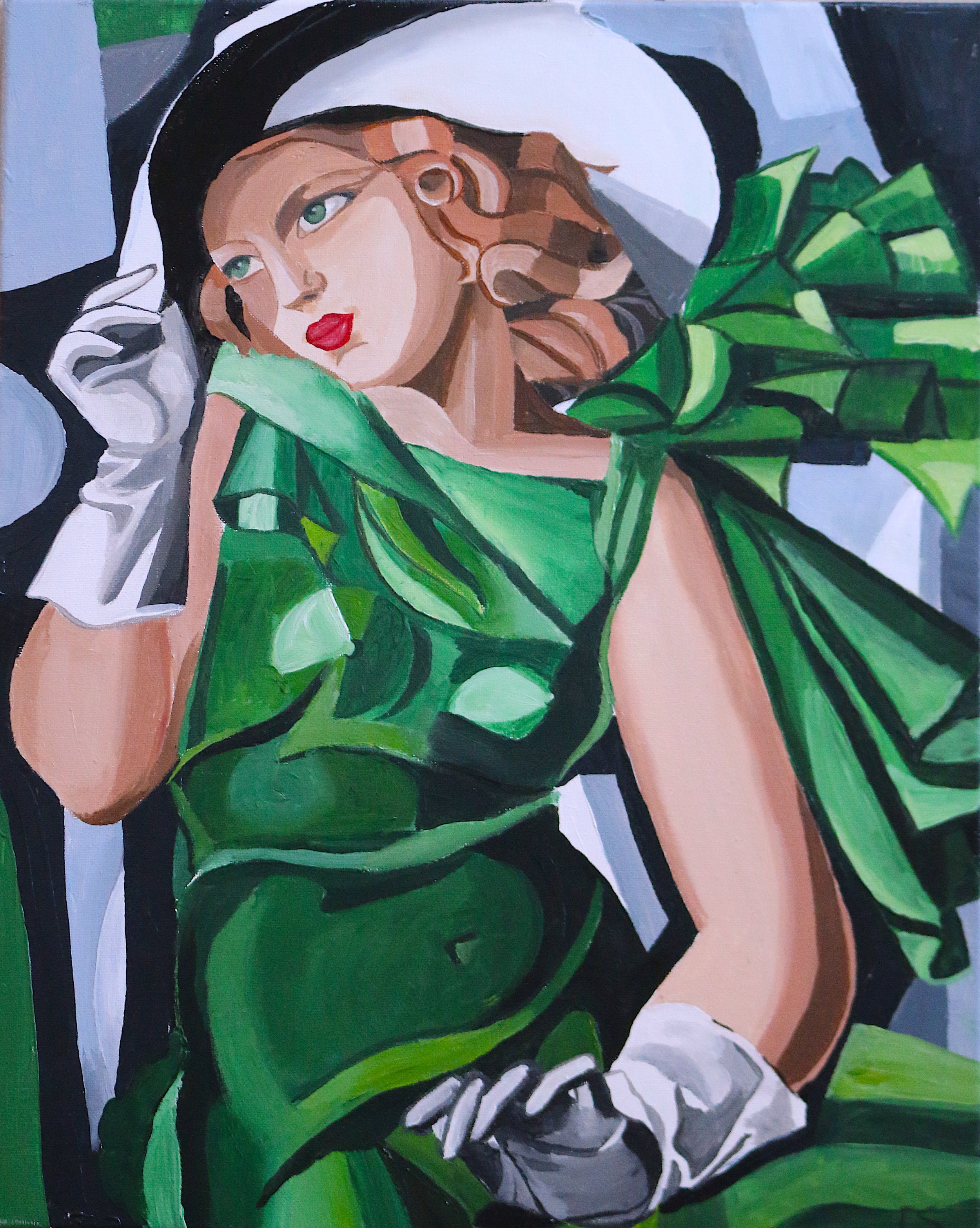 Girl in Green with Gloves by Lempicka