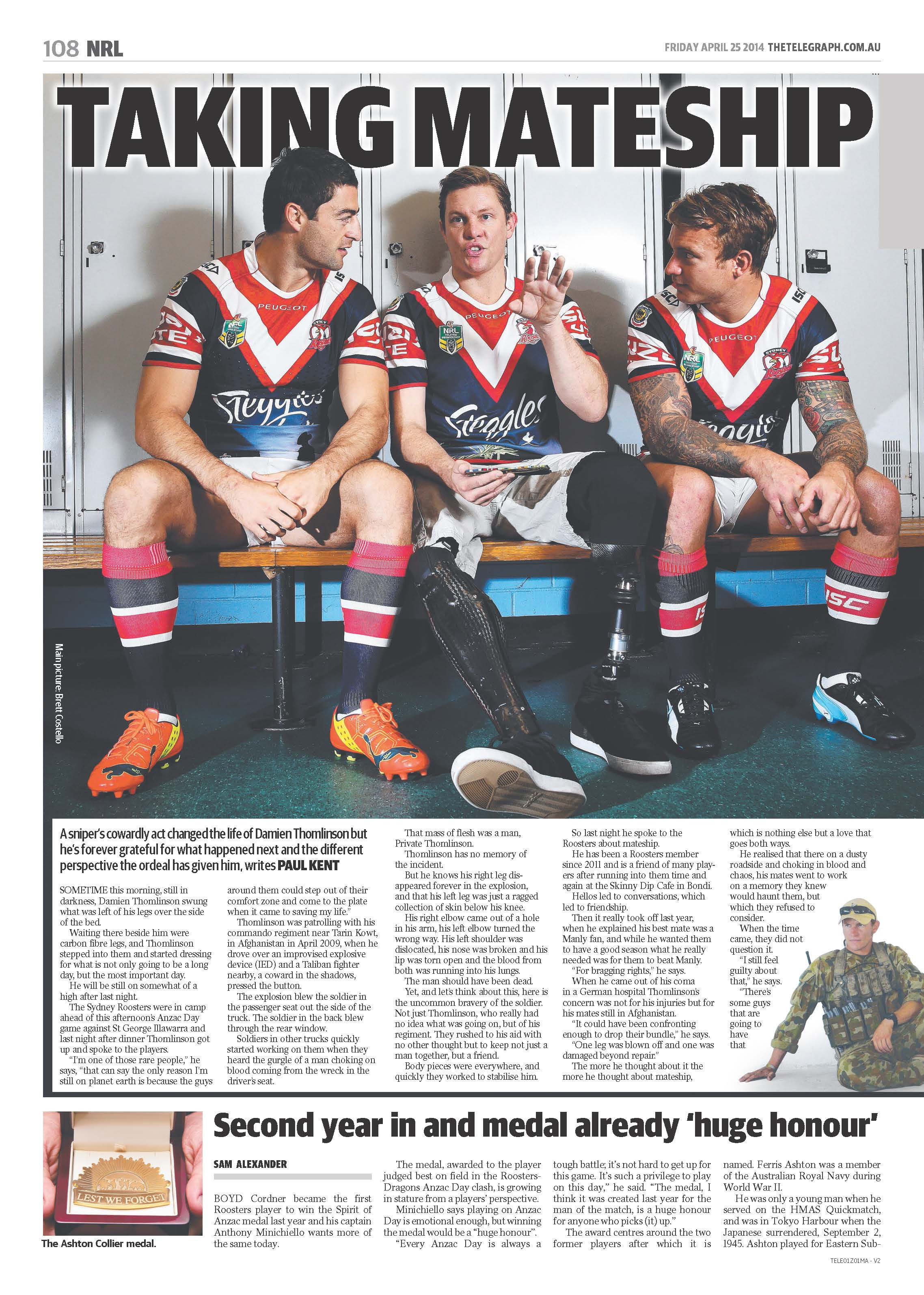 Damien teamed up with the Sydney Roosters NRL team to tell his story to The Daily Telegraph