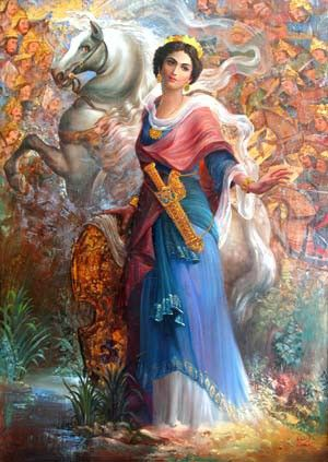 A persian painting. The horse and the golden sword are Anahita's symbols.