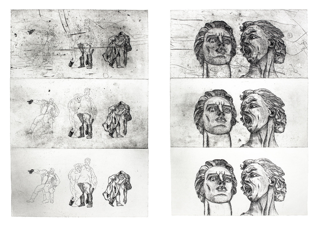Olga Ghanza's multi-plates etching prints, available on www.olgaghanza.nl