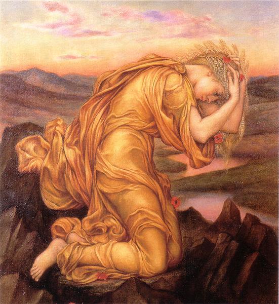 Demeter withdrawn, mourning her daughter Kore-Persephone