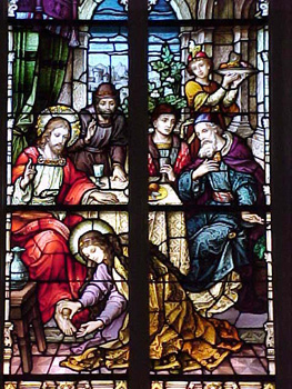 Mary anoints Jesus's feet, stained glass, Munich, 1899.