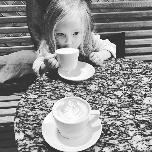 Coffee date with this one. Sunday funday!  #latteart #sundayfunday #coffeehouse #coffee #babychino #flatwhite #daddaughter #daddadaughterdate