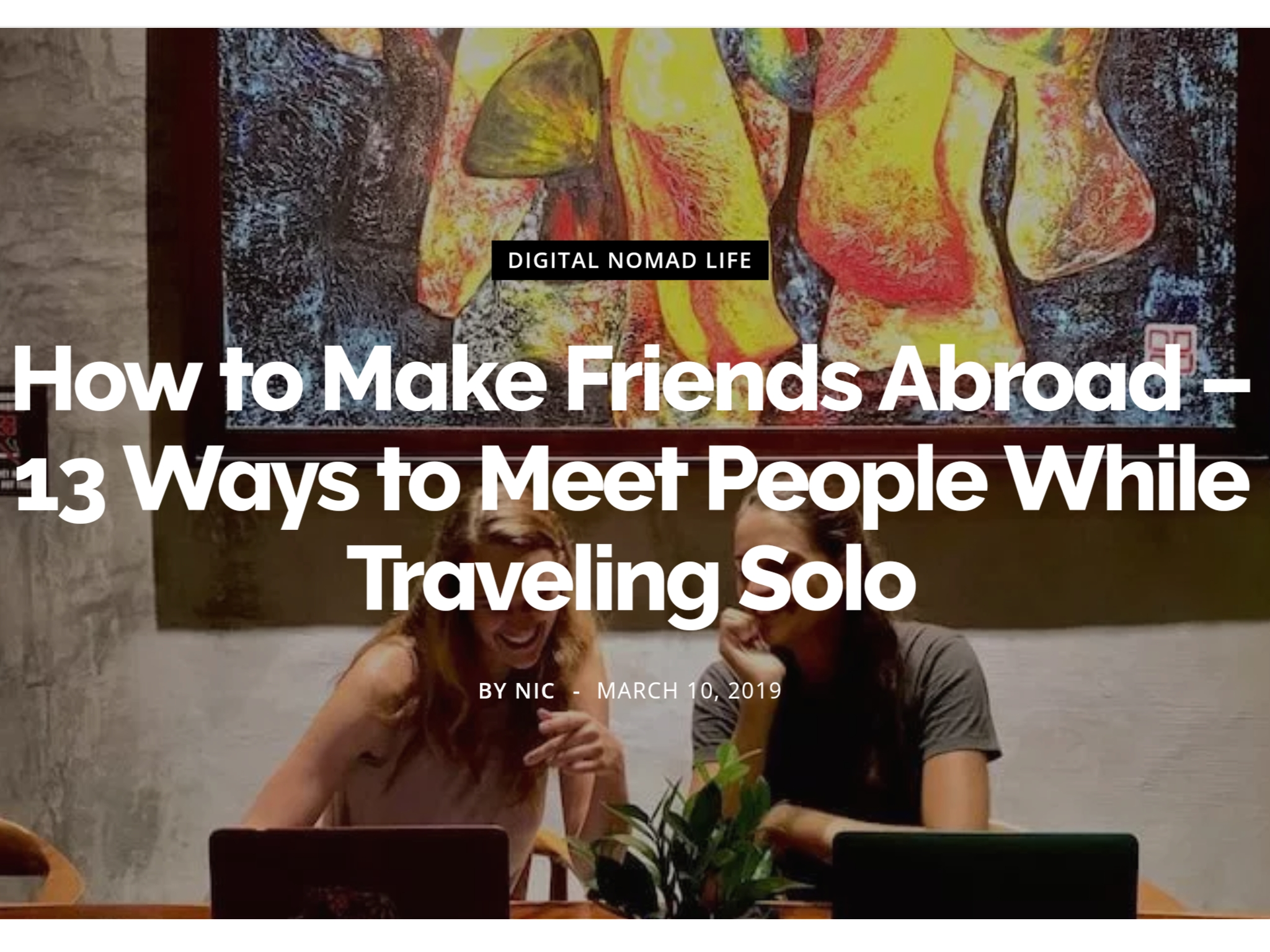 See Nic Wander - How to Make Friends Abroad
