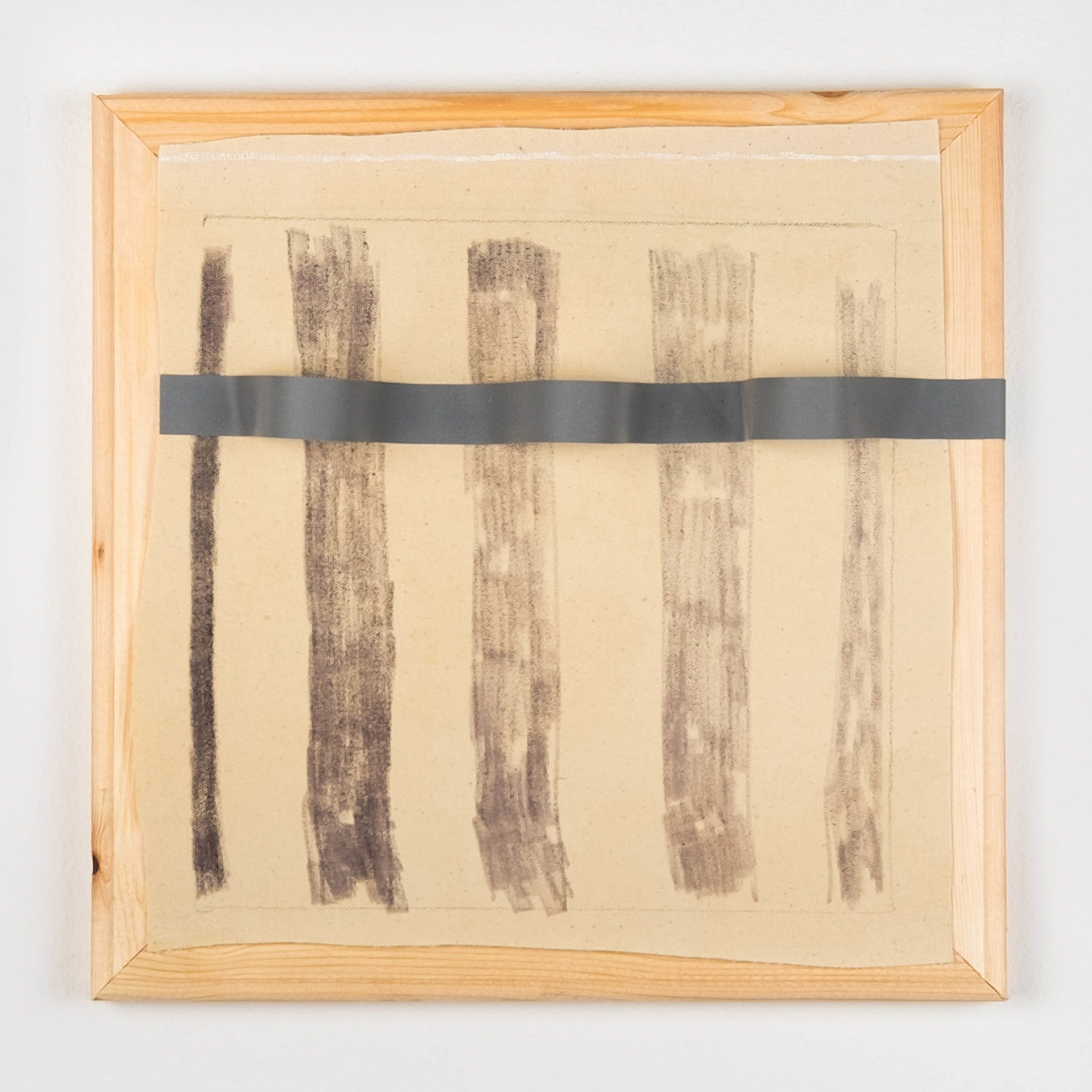 RUNNING OUT OF INK  2019  Oil and ink on canvas, reflective ribbon, wood  30 x 30 x 7cm