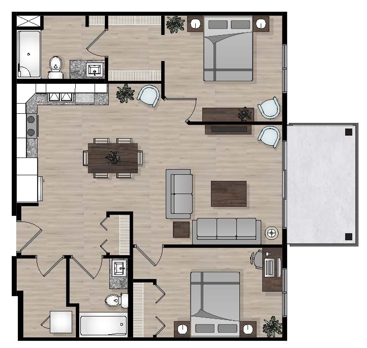 SUITE A2 - 936 SQ.FT2 BEDROOM2 BATHROOM