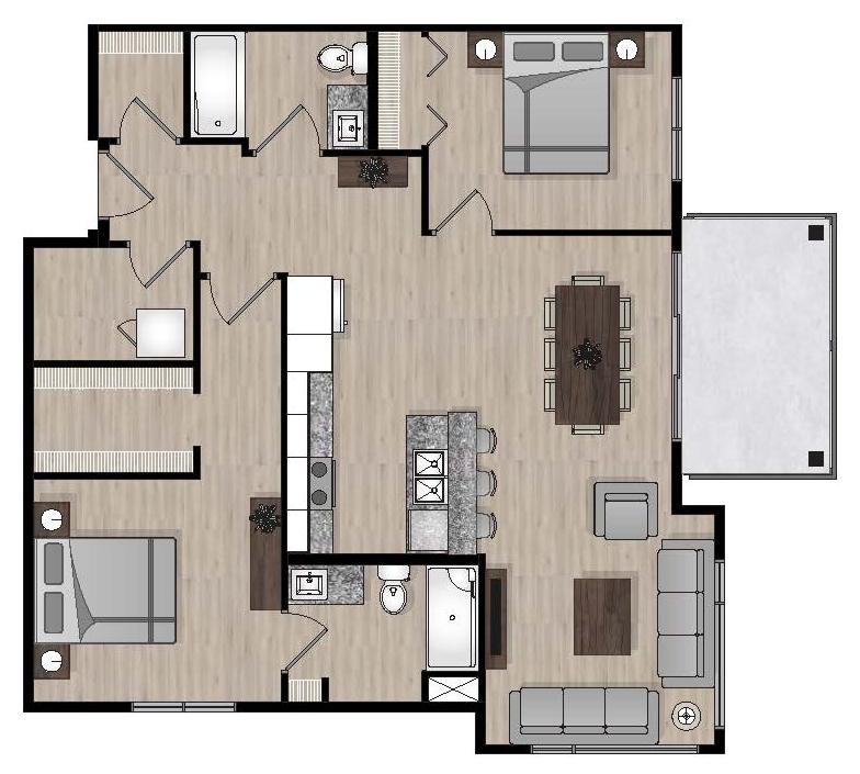 SUITE E1 - 1,019 SQ.FT2 BEDROOM2 BATHROOM