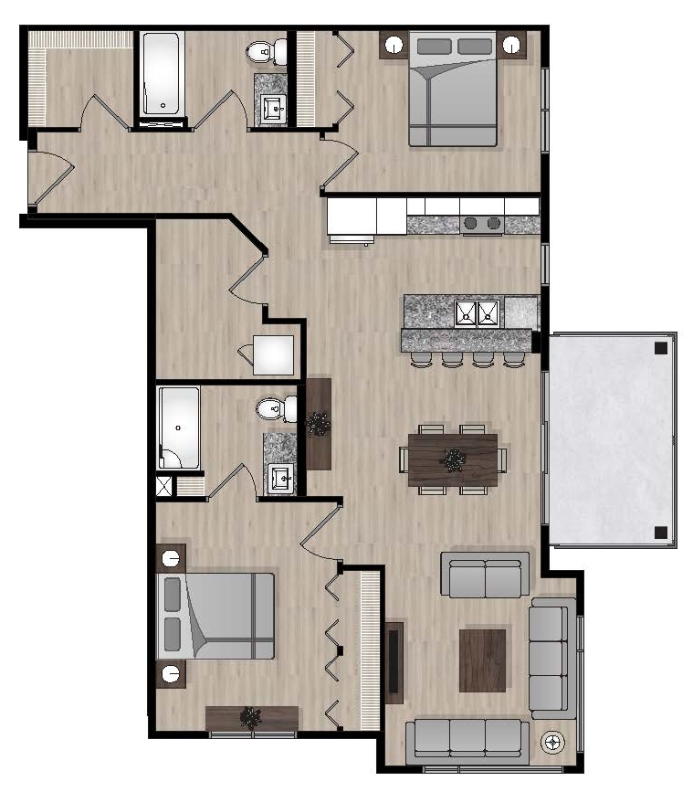 SUITE E2 - 1,063 SQ.FT2 BEDROOM2 BATHROOM