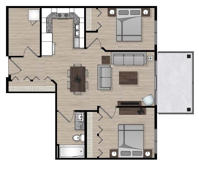 SUITE B1 - 795 SQ.FT.2 BEDROOM1 BATHROOM
