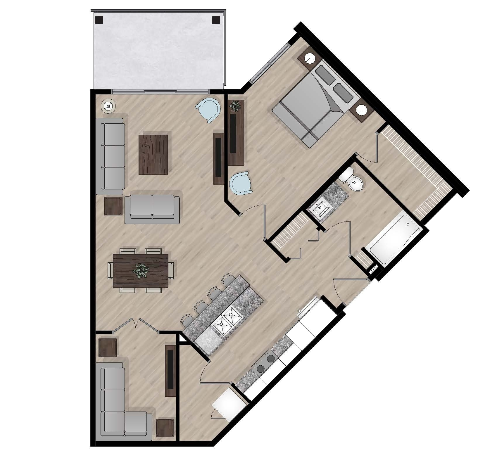 SUITE B2 - 833 SQ.FT1 BEDROOM1 DEN1 BATHROOM