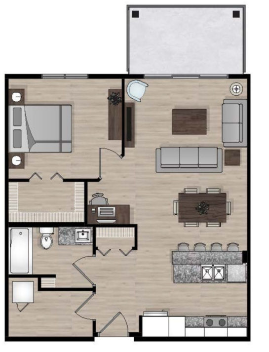 SUITE C1 - 726 SQ.FT1 BEDROOM1 BATHROOM
