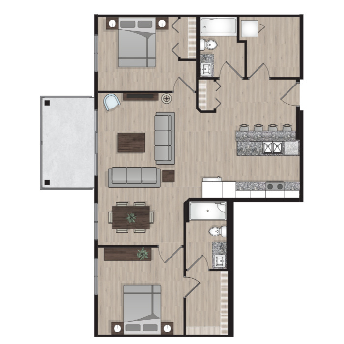 SUITE A8 - 1,047 SQ.FT2 BEDROOM2 BATHROOM