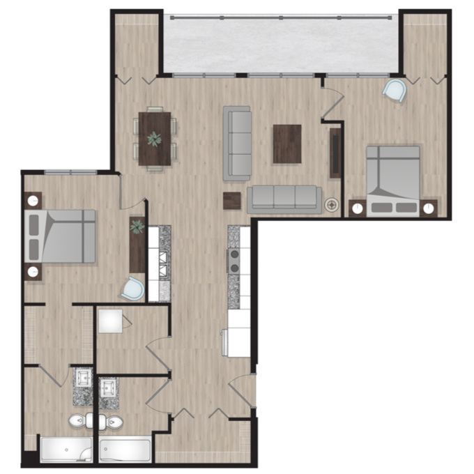SUITE D2 - 1,054 SQ.FT2 BEDROOM2 BATHROOM