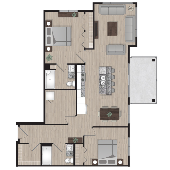 SUITE E3 - 1,068 SQ.FT2 BEDROOM2 BATHROOM