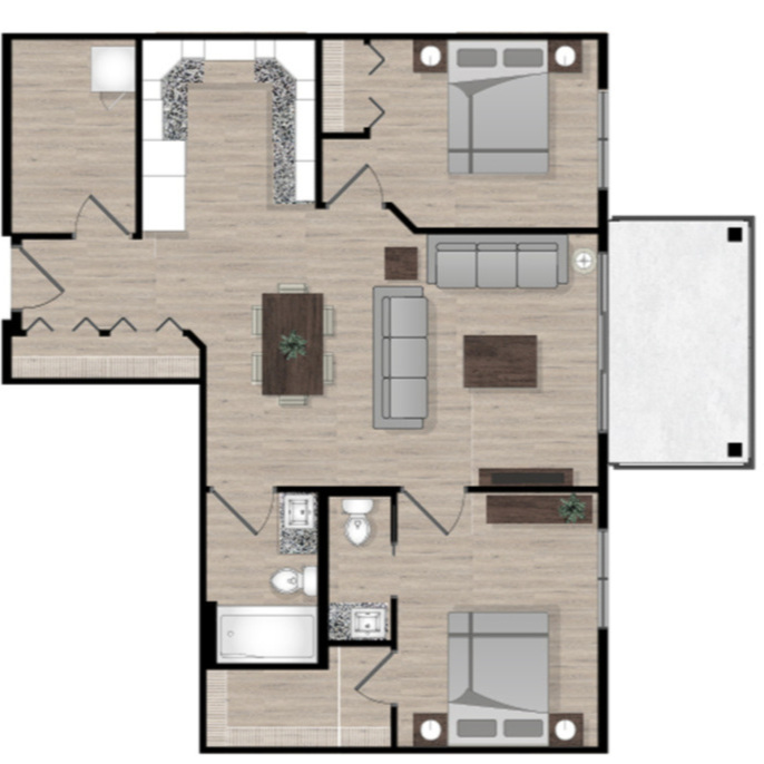 SUITE A1 - 893 SQ.FT2 BEDROOM1.5 BATHROOM