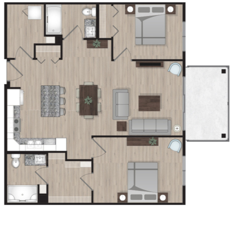 SUITE A7 - 1,005 SQ.FT2 BEDROOM2 BATHROOM
