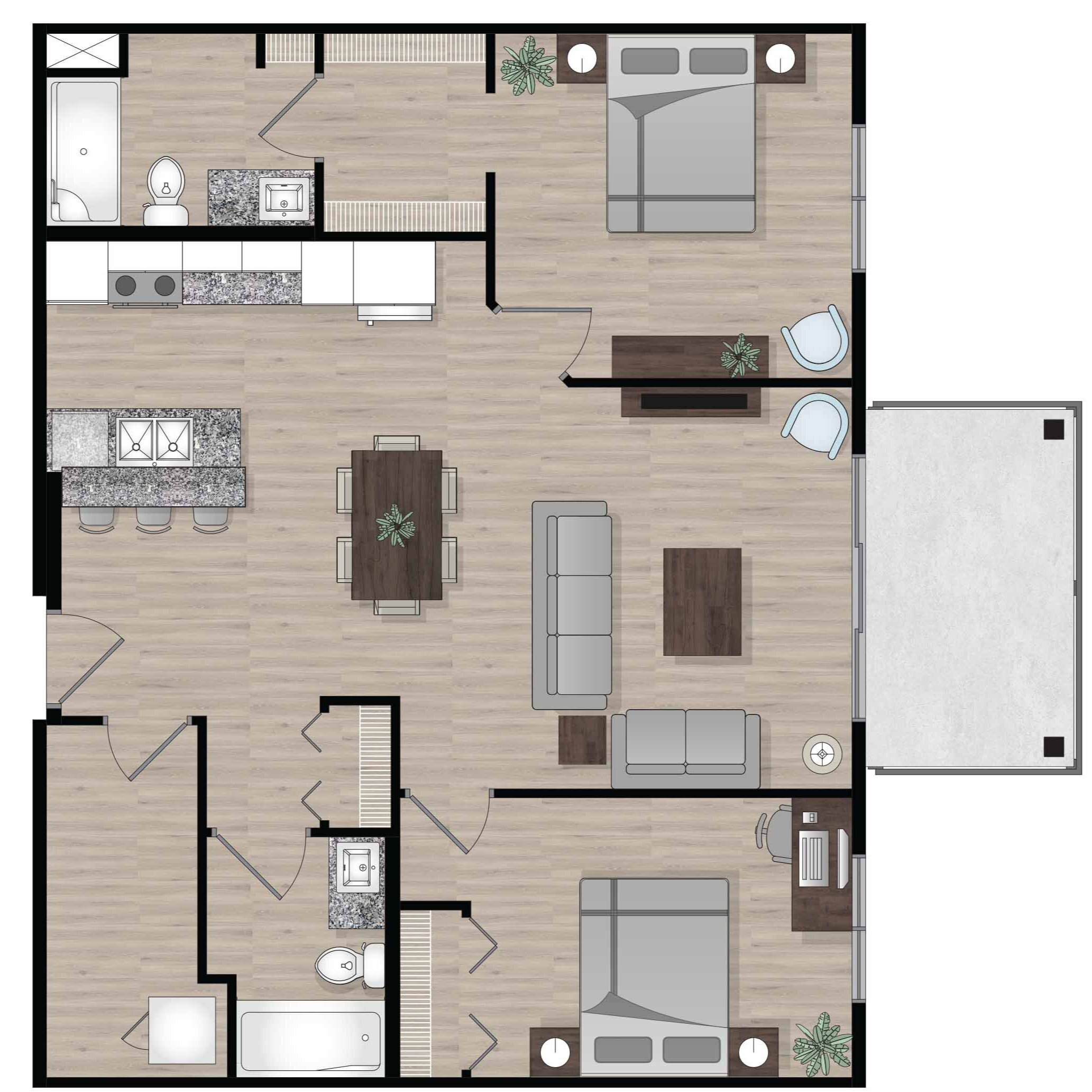 SUITE A5 - 1,000 SQ.FT2 BEDROOM2 BATHROOM