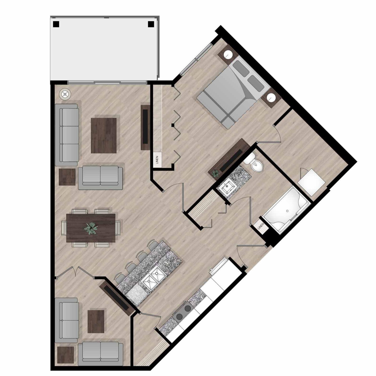 SUITE B4 - 829 SQ.FT.1 BEDROOM1 DEN1 BATHROOM