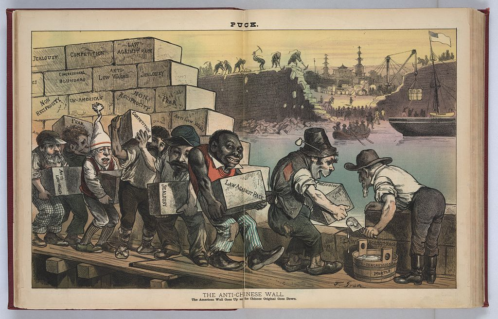 """The Anti-Chinese Wall: The American wall goes up as the Chinese original goes down,"" Friedrich Graetz, 1882. Source:  Library of Congress ."