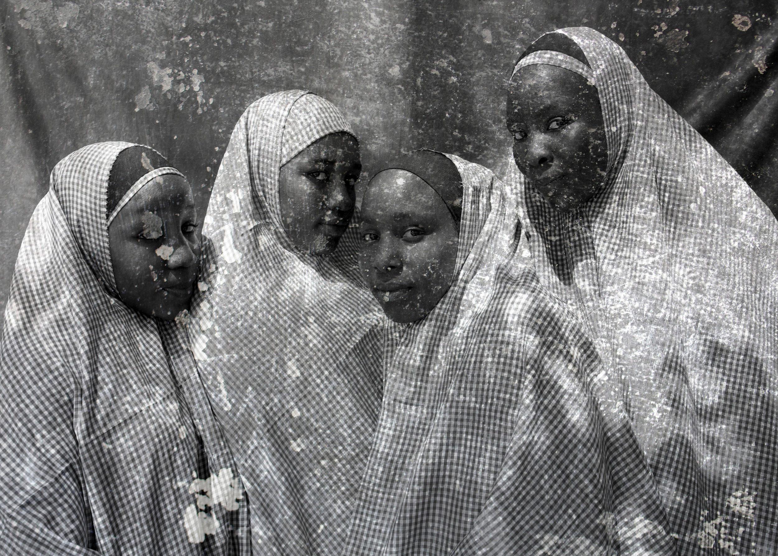 """Rukkaya, Hadiza, Falmata, and Rashida"". Education is Forbidden series. Maiduguri, Nigeria, 22"" x 31"", 2016"