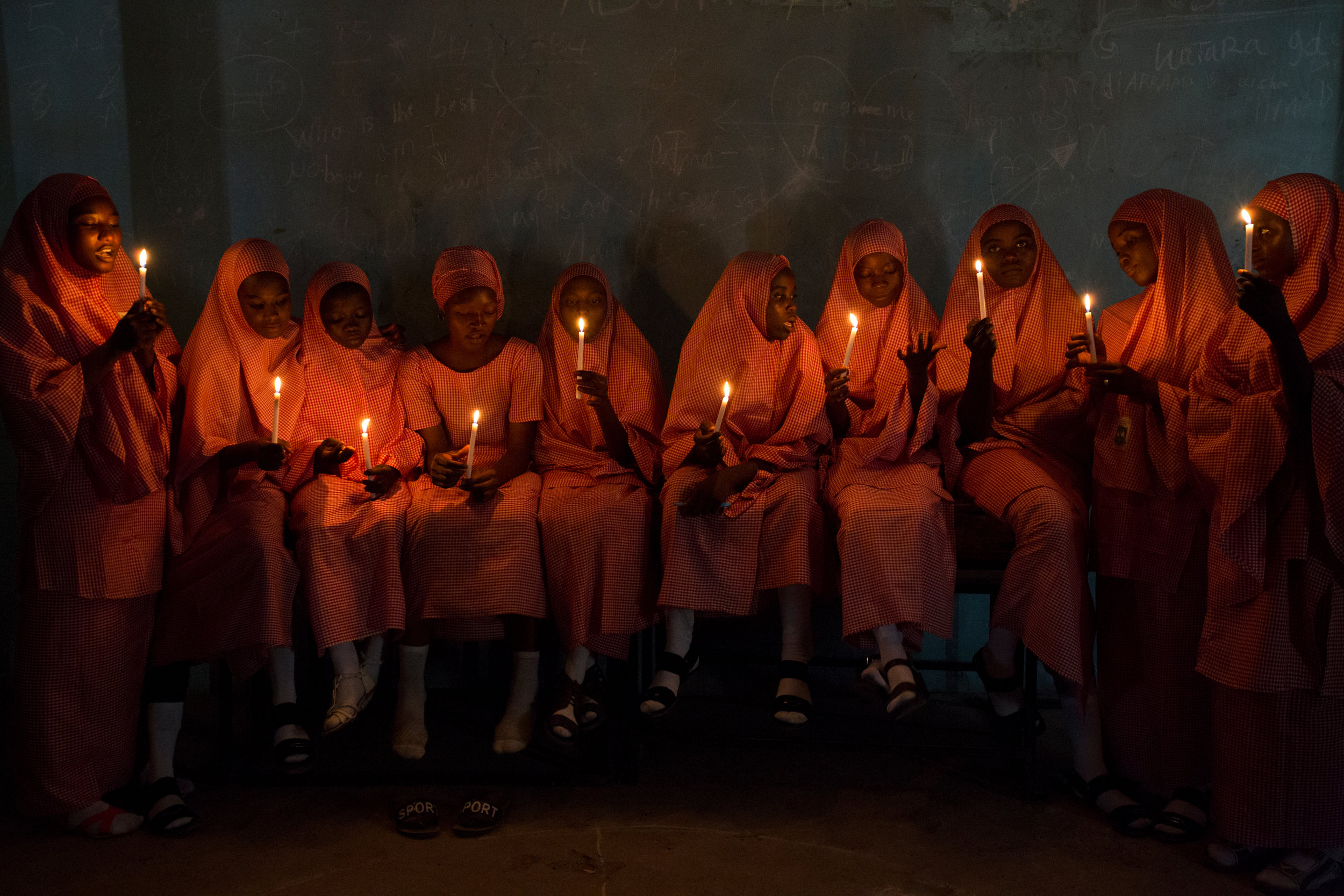 """School girls with candles (1)"", Tatsuniya series, 27"" x 40"", 2017"