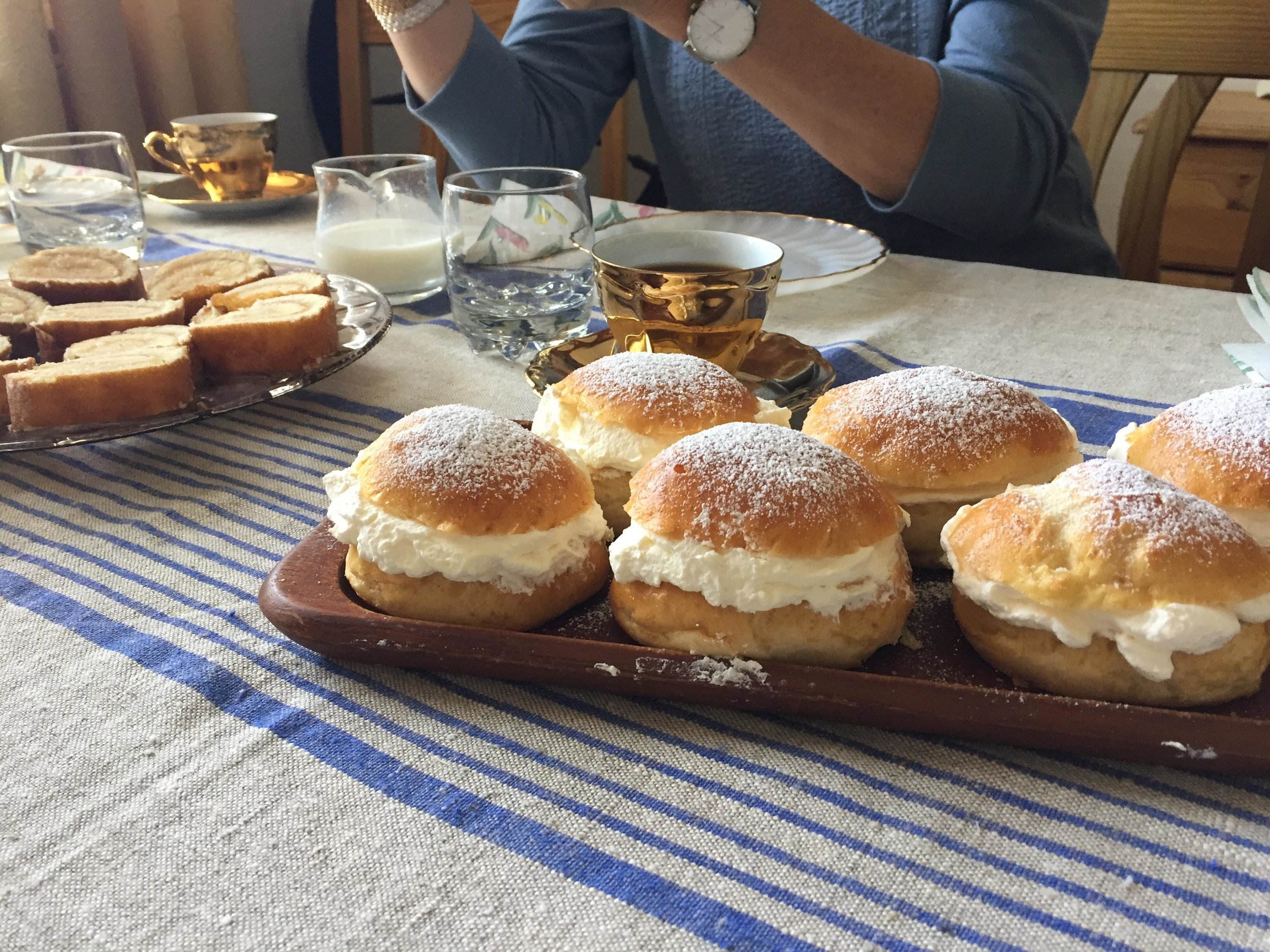 """The sweet buns are called semlor and are a classic made around Lent, these ones were made by my mormor."""