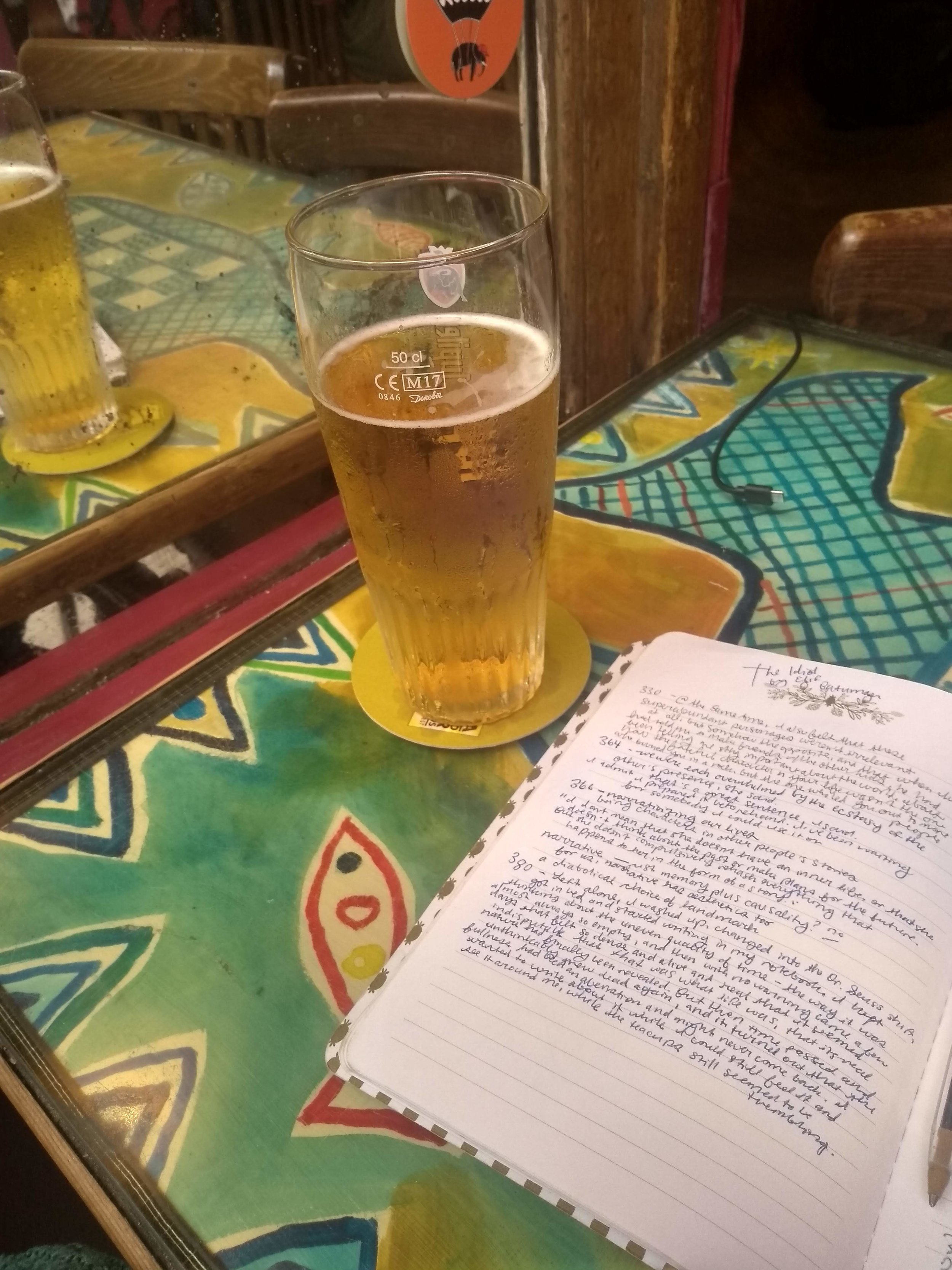 My Tripel and my notebook of quotations.
