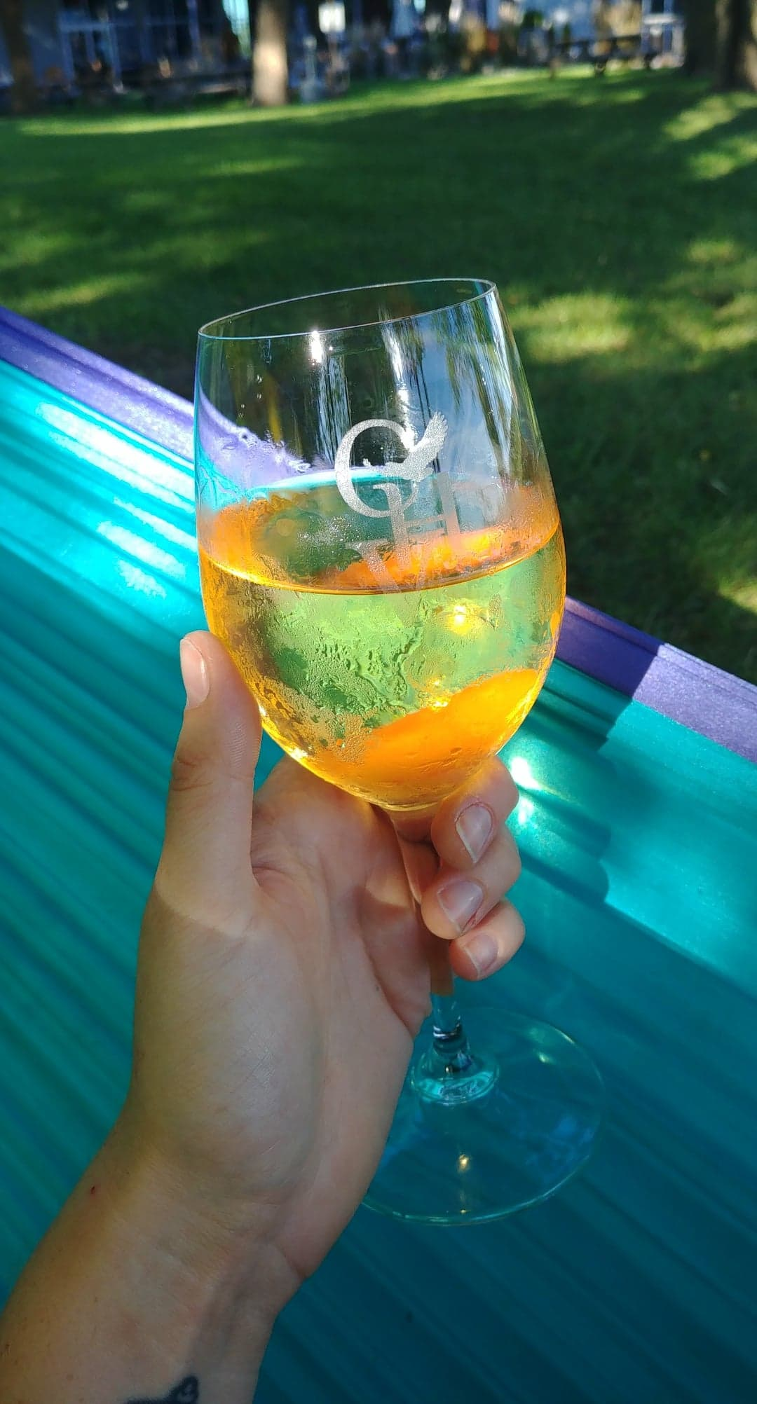 A glass of Cooper's Hawk  orange wine  (only three wineries in Ontario make orange wine).